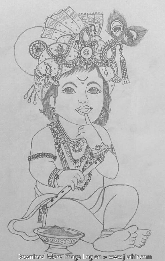 Jai Shree Krishna Pencil Work