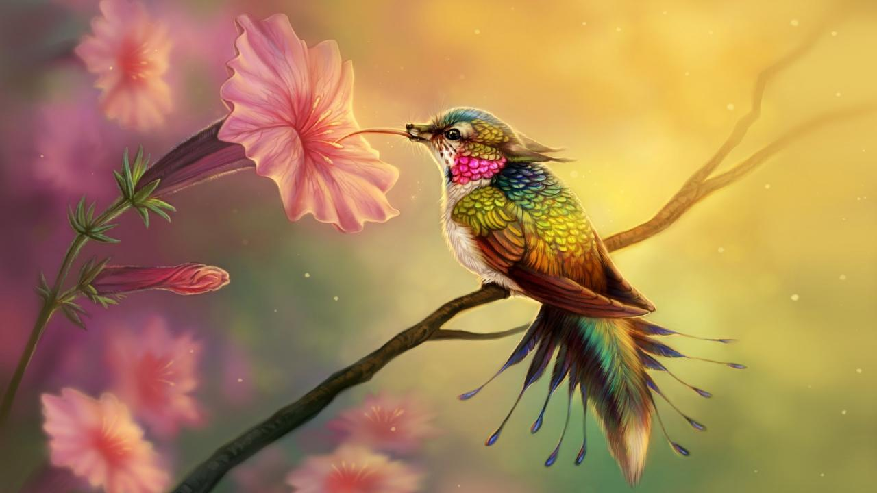 Cute Humming Bird And Pink Flowers