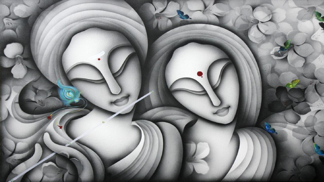 Radha Krishna Beautiful Paintings Poster