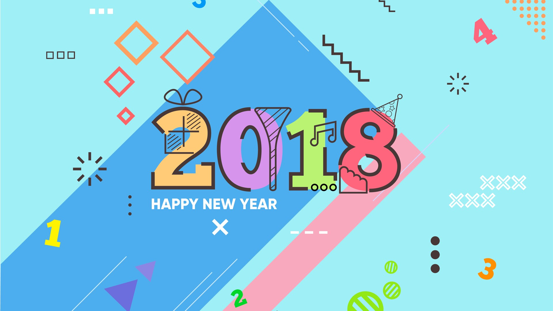 New Year 2018 HD Wallpaper With Math Theme