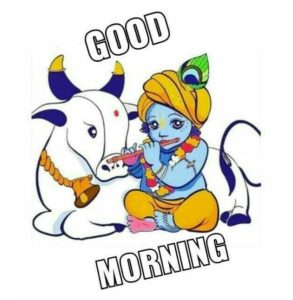 Good Morning Krishna With Cow