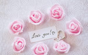 Love You Pink Roses And Heart Rings Wallpapers